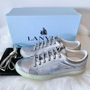 Lanvin Silver Lamb Leather Low Top Sneakers US 11